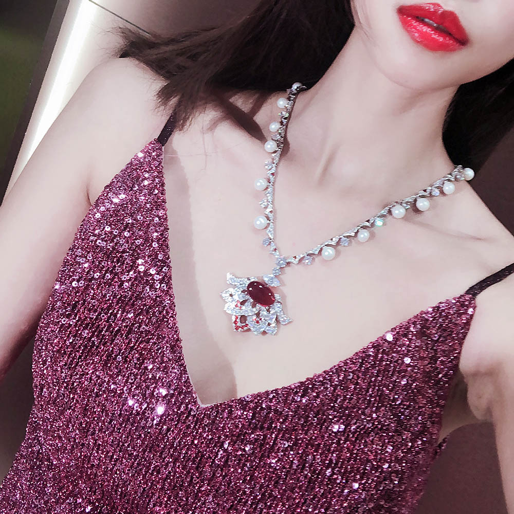 Hot Brand 925 Sterling Silver Luxury Wedding Bride Big Crystal Lace Bridal Chain Princess Platform Prom