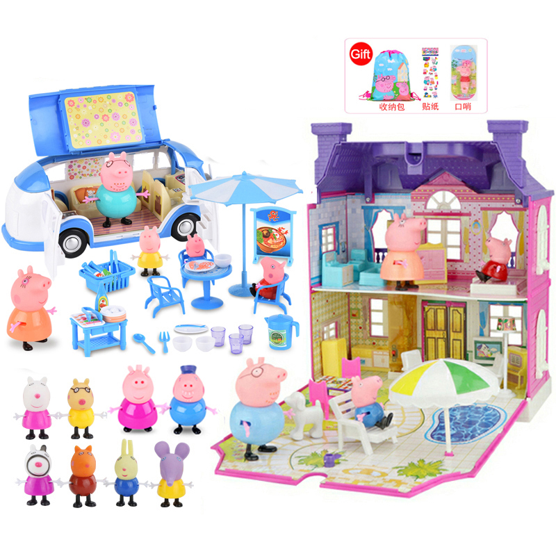 peppa pig house Action Figure Diy Toy Family Holiday Day Picnic Car Figures Villa House Play Set Puzzle Toys for girls Giftspeppa pig house Action Figure Diy Toy Family Holiday Day Picnic Car Figures Villa House Play Set Puzzle Toys for girls Gifts