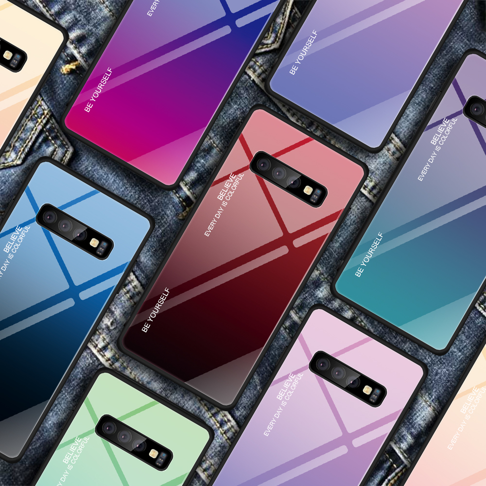 <font><b>Glass</b></font> Phone <font><b>Case</b></font> For <font><b>Samsung</b></font> <font><b>Galaxy</b></font> S10 Plus S10e M10 <font><b>M20</b></font> A30 A50 A9 A7 A8 A6 2018 J8 J4 J6 Plus S9 S8 Note 8 9 Gradient Cover image