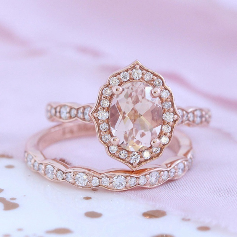 2018 New Fashion jewelry New gold color zircon finger ring set wedding gift for women ladies