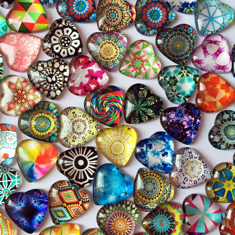 ZEROUP 50pcs 12mm Heart Glass Cabochons Mixed Pattern Cameo Photo Cabochons Handmade Supplies for Jewelry Components