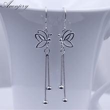 ANENJERY – boucles d'oreilles papillon en argent Sterling 925, longues perles à pampilles pour femmes