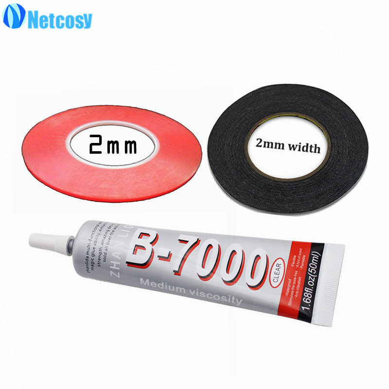 Netcosy 2mm Clear Double Sided Sticky Tape & 2mm Black adhesive Strong Sticky Tape & B-7000 50ml glue For Smartphone Repair
