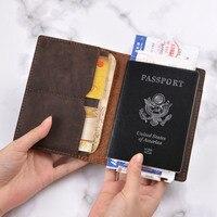 100% натуральная Crazy Horse кожаная обложка для паспорта, однотонный кредитный ID кошелек с отделами для карт, деловой мужской дорожный кошелек