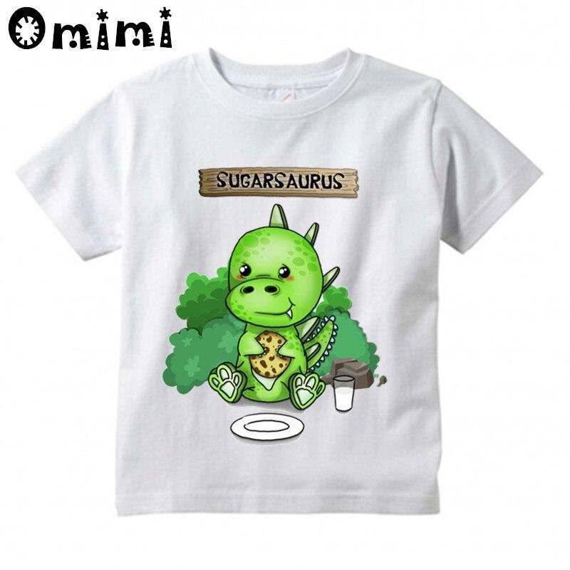 Cute Dinosaur Sugarsaur Printed Children Casual T Shirt Boys and Girls Funny Tops Kids Great T-Shirt