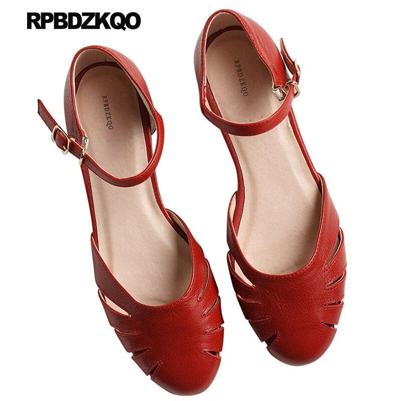 2018 Rouge École Chic Vintage Beige Chaussures Sandales Cuir rouge Taille Japonais En jaune Véritable 33 Bout 34 Chine De Rond Designer Mariage Femmes Chinois q5LRj4A3