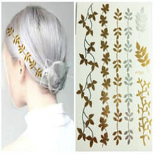 1 Pcs Gold Silver Flash Temporary Tattoo Sticker Sexy Product Women Hair Arm Sleeve Body Art Jewelry Decal 8 Style For Choice