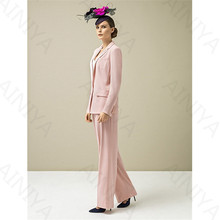 Pink Women Casual Office Business Suits Formal Work Wear Slim Fit Office Uniform Styles Female Elegant Pant Suits Custom Made