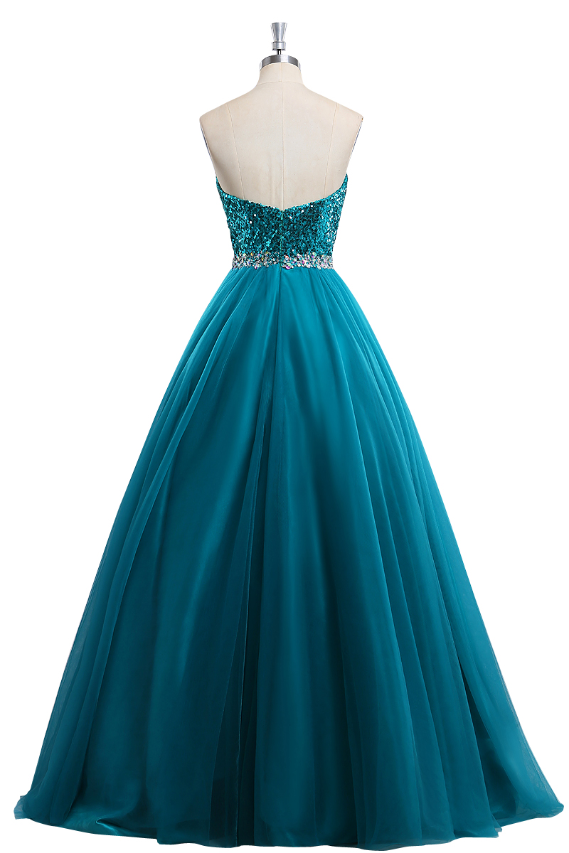 Teal Blue Sweetheart Strapless Tulle Prom Dress With Sequin Bodice ...