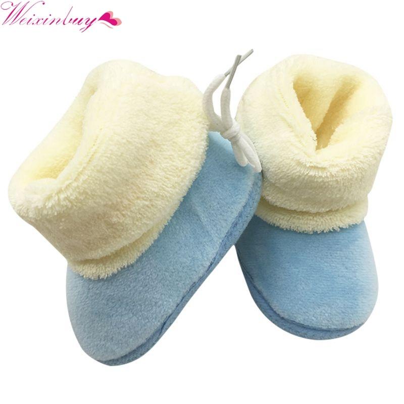 New Winter Newborn Baby Flock Warm Pre-walker Shoes Infant Boy Girl Toddler Soft Soled First Walker