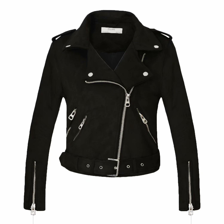 Motorcycle Coat Biker Gray Pink Beige Outwear New Arrial Women Autumn Winter   Suede   Faux   Leather   Jackets Lady Fashion Matte