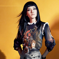 Women Shirt 2015 Summer New Wild Style Long Sleeve Vintage Angel Oil Print Sweet Lace Collar