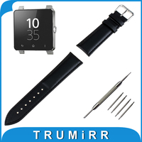 24mm Genuine Leather Watchband For Sony Smartwatch 2 SW2 Smart Watch Band Wrist Strap Plain Grain