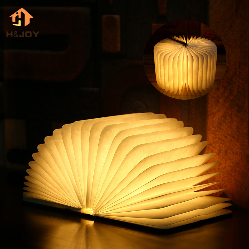 LED Wood Foldable Pages Led Book Shape Lamp Night Lighting Lamp Portable Booklight USB Rechargeable Night Light Book Shape Light led foldable panda book table lamp colorful light portable booklight usb rechargeable night light for holiday gifts
