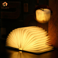 LED Wood Foldable Pages Led Book Shape Lamp Night Lighting Lamp Portable Booklight USB Rechargeable Night Light Book Shape Light