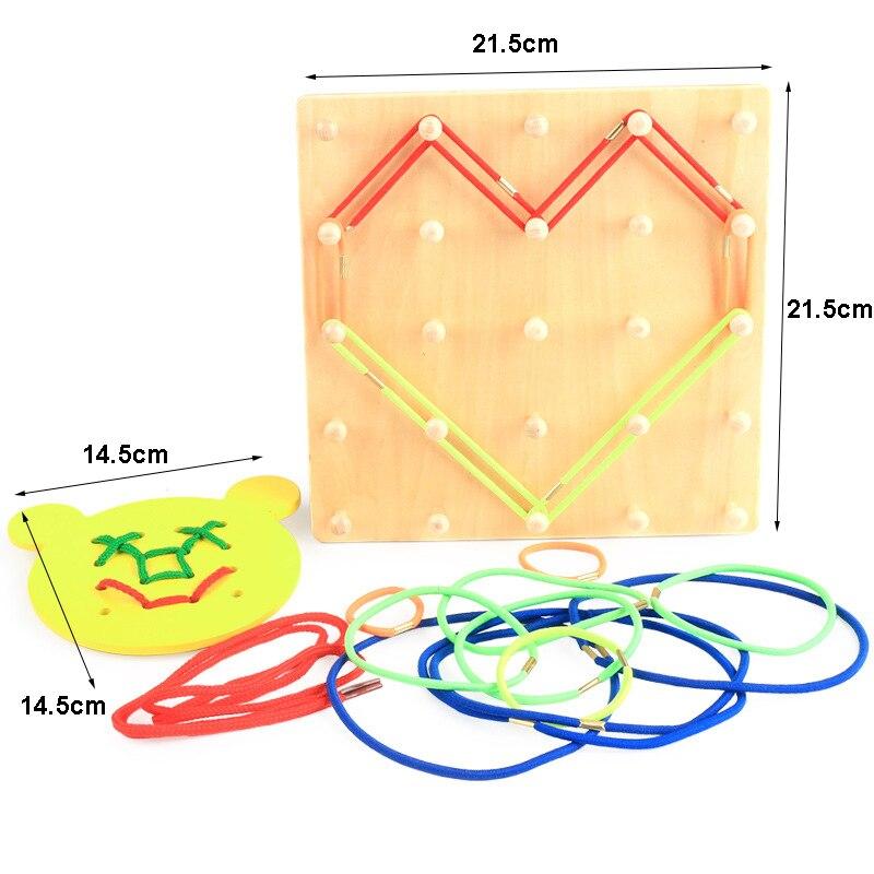 Nouveauté Montessori jouets en bois vent la corde sur les ongles en bois Math jouet éducatif bois ongles conseil ours conseil filetage plaque - 6
