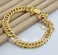 BA1193 Big Fashion and High Quality  9.5mm Link Chain  24k Gold Men Bracelet For Wedding Anniversary Best Selling Jewelry