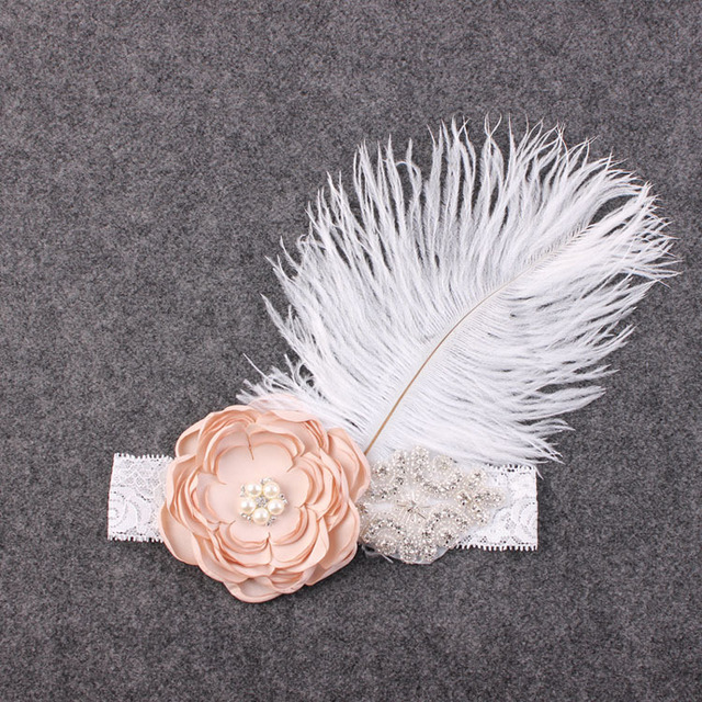 7aed3b153b97c 5pc big Ostrich hair Chiffon Pearl flower Lace Headband Accessories feathers  Injun Role play Hairband Photo Prop YM6107