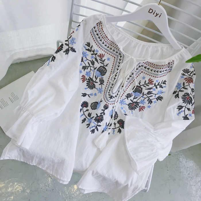 2019 学生フレア袖の花の刺繍白綿ブラウス女性国家刺繍トップス