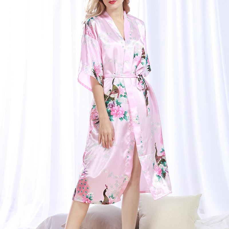 Women Summer Dress 2017 Pijama Women Soft Elegant Silk Floral Loose Plus Size with Sashes Nightgown Sleepwear Nightdress 1073