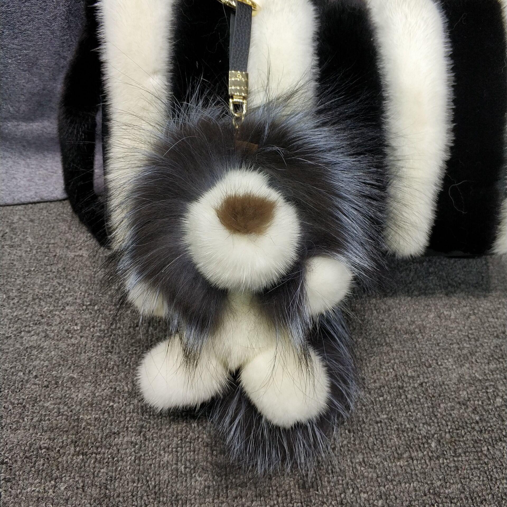 2019 Real Mink Fur Lion Doll Fox Fur Gift Bag Charm Keyring Pendant Accessories Fashion Girl Mink Fur Keychain Cute