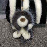 2019 Real Mink Fur Lion Doll Fox Fur Gift Bag Charm Keyring Pendant Accessories Fashion Girl Mink Fur Keychain Cute