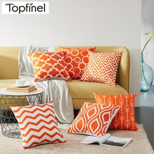 Topfinel Geometric Design Waist Throw pillow case sofa Orange Cushion Covers for Sofa Car Couch Seat decorative pillow covers(China)