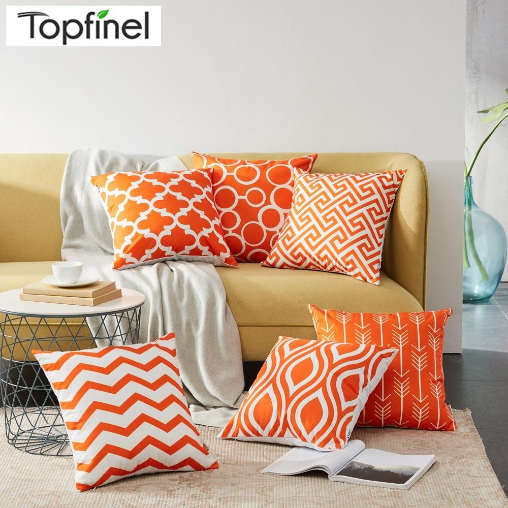 Topfinel Geometric Pattern Design Decorative Throw Pillow Cases Orange Cushion Covers for Sofa Car Couch Armchair Seat 45x45cm