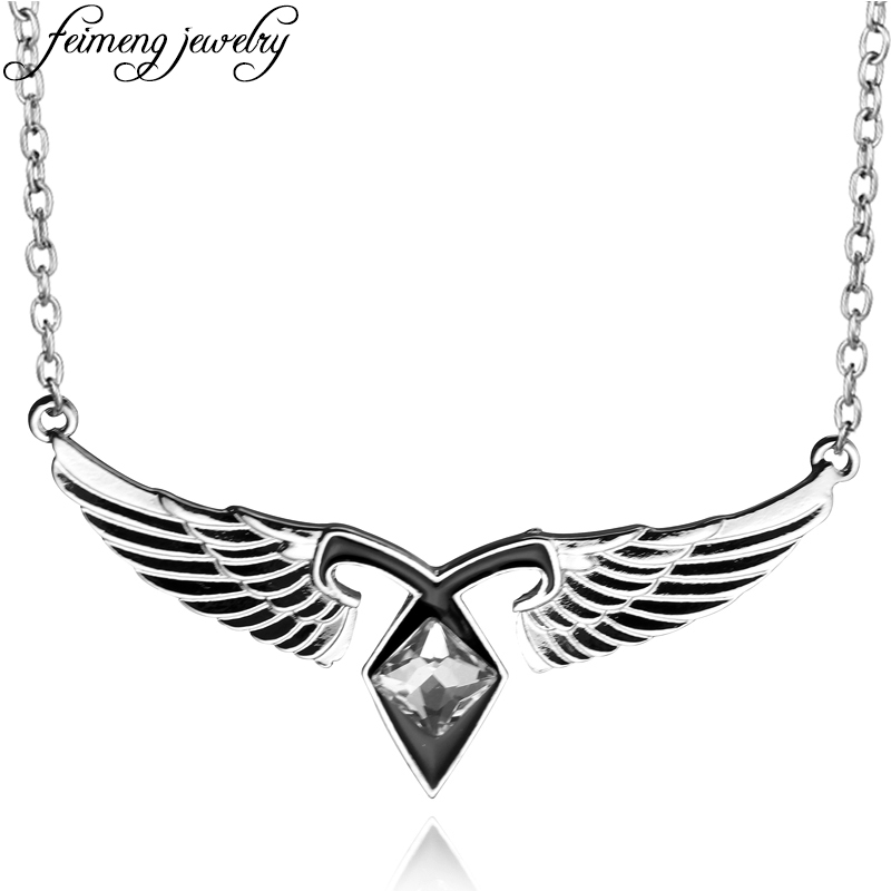 The Mortal Instruments City Of Bones Necklace Angel Wings Power Rune Pendant Jewelry For Fans Collection Statement Necklaces