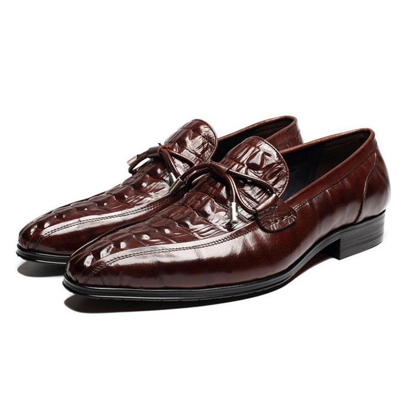 Men Shoes Wedding Dress Office Oxford Shoes Luxury Brand Flats Shoes Mens Loafers Genuine Leather Embossing Slip On  Flats