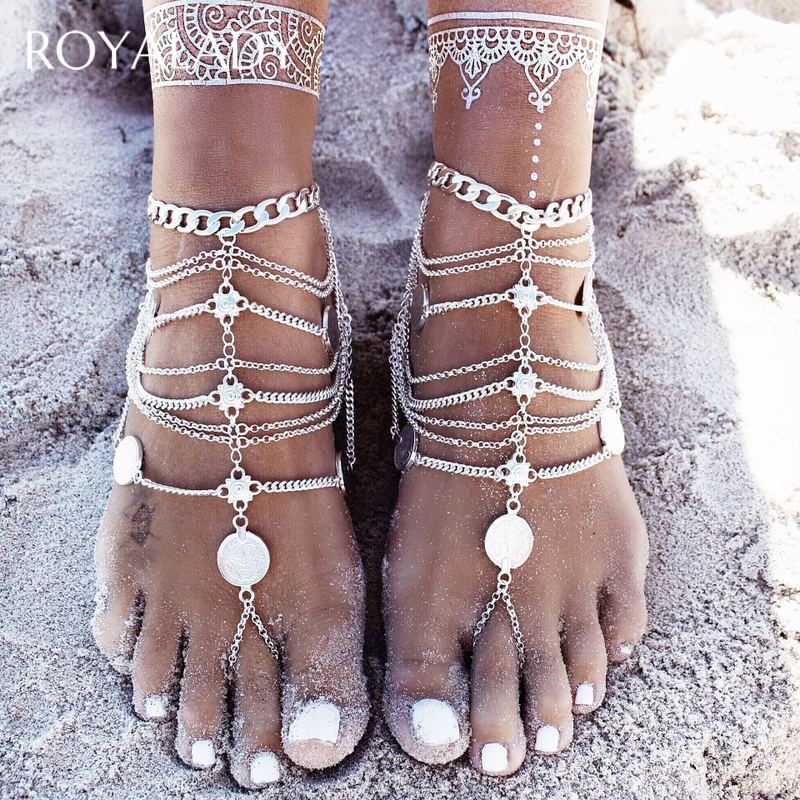 Bohemian Summer Beach Multilayer Anklets For Women Silver Golden Color Tassel Coin Sandals Female Ankle Bracelet Foot Accessory