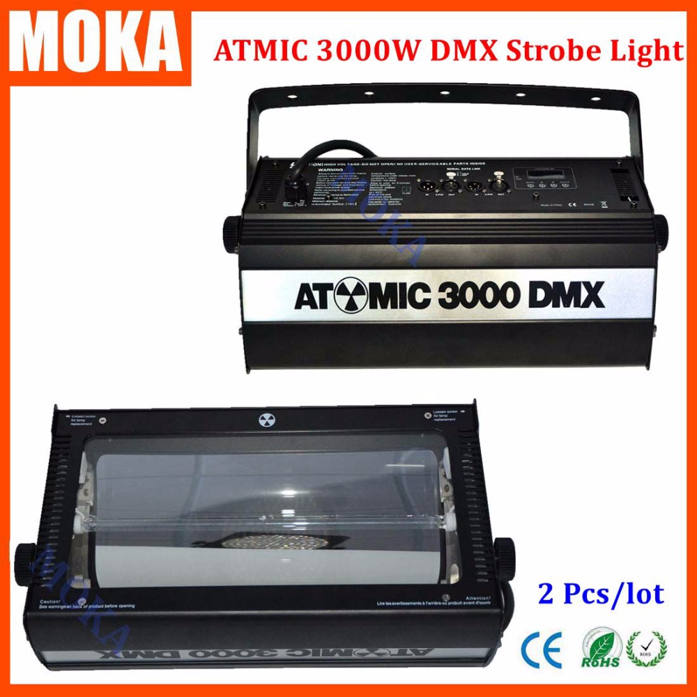 купить 2 Pcs/lot Martin Atomic 3000 Strobe Light dmx Super bright 3000W DMX Strobe Flash Light COB Led Strobe Light 3000W White Color по цене 24264.56 рублей