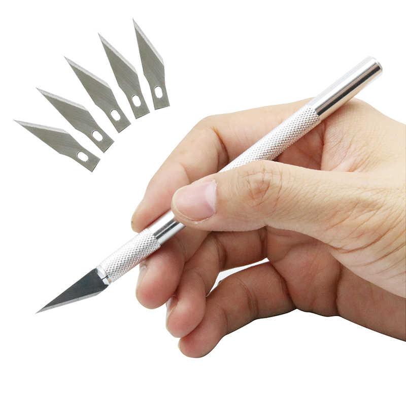 Нескользящий металлический скальпель нож набор инструментов Резак гравюра ножи + шт. 5 шт. лезвия мобильный телефон PCB DIY ремонт ручные инструменты