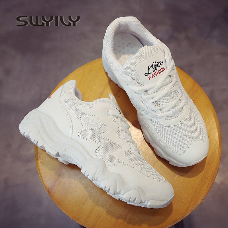 SWYIVY Woman Casual Shoes Platform 2018 Hot Sale Women Sneakers Breathable Summer Female Leisure Footwear 40 Plus Size Sneakers swyivy women sneakers light weight 2018 41 woman casual shoes slip on lazy shoes comfortable candy color breathable net shoe