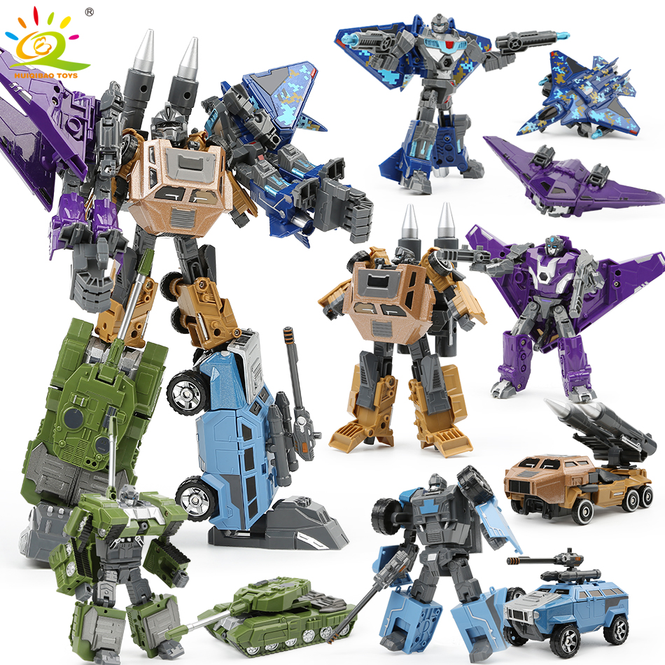 HUIQIBAO TOYS 15cm 5in1 Military Transformation Robot Army Deformation Tank aircraft vehicle Action toy Figures Toy for Children 19cm height transformation deformation robot toy action figures toys with original box jj616c