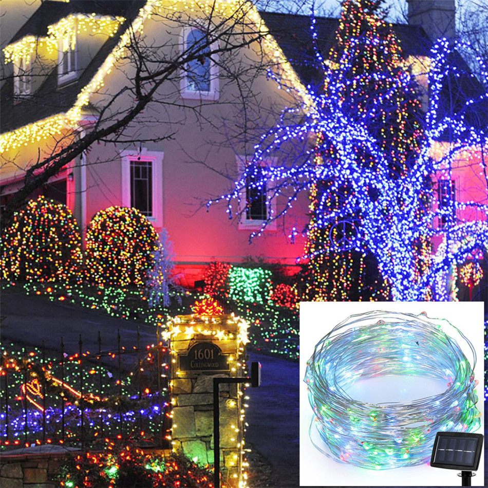 20 m 200 led solar string lights christmas wedding party decorations. Black Bedroom Furniture Sets. Home Design Ideas
