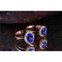 1,5 карат танзанитное кольцо женские натуральный diamant цветок из розового золота свадебные украшение для влюбленных (см)