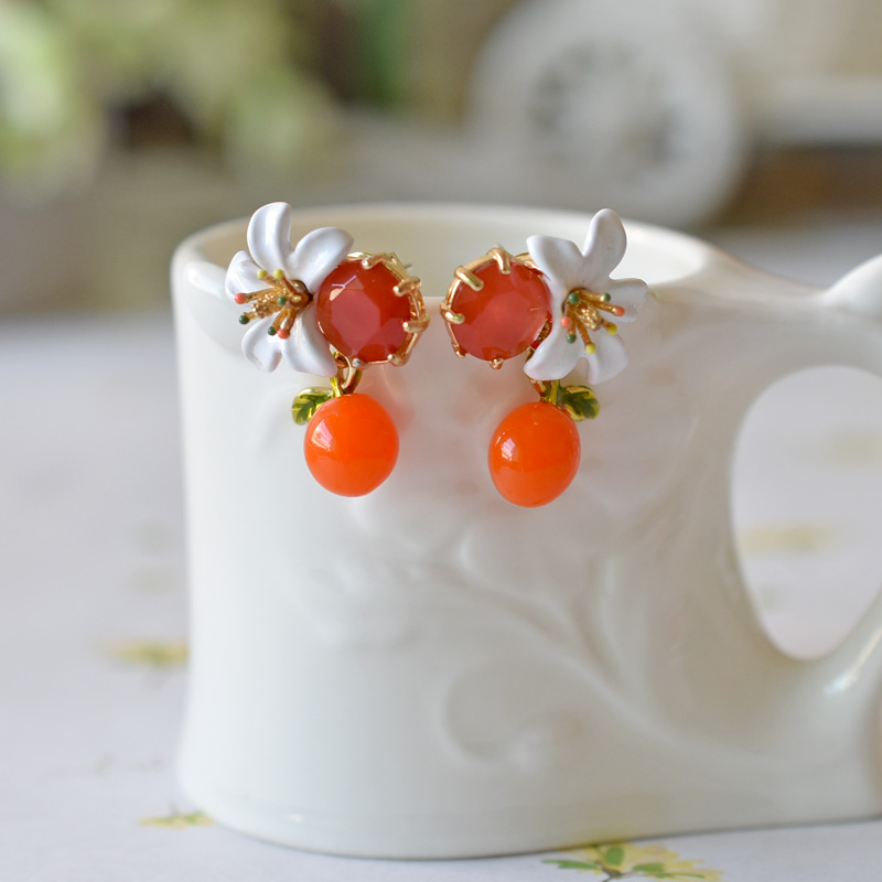 Warmhome Trendy Jewelry Enamel Glaze Copper White Orange Blossom Flower Gem Earrings Necklace Bracelet For Women chic ellipse shape faux gem flower earrings for women