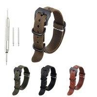 20Mm 22Mm 24Mm Verontruste Vintage Handgemaakte Crazy Horse Lederen Band Voor 3-Ring Zulu Nato Vervanging horloge Band Zwarte Gesp