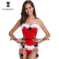940# High quality latest product white fur trimmed sexy red Christmas corset with underwire cup for autumn and winter season