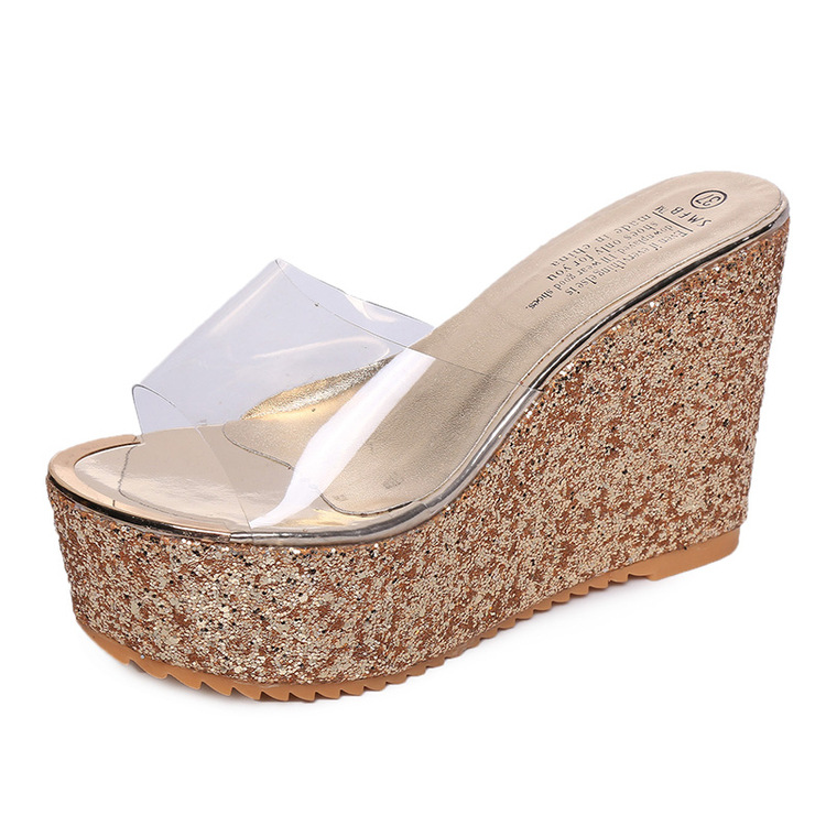 hight thick heel transparent slipper shoes