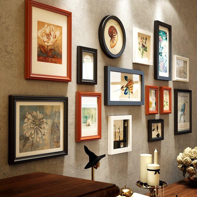 Nouveau Créatif Multi-couleurs Style Européen 14 pièces Photo Cadres Cadres En Bois Combinaison Décor À La Maison Photo Cadres