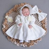 Christening Dres Set 5 Pcs Baptism Dress+Bonnet Hat+Headband+Bolero+Bow 0 2Y Toddler Girl Special Occasion Outfits A015 Vestidos