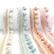 Ruban de dentelle à garniture de pompon pour bricolage, décoration de mariage, couture sur tissu, accessoire de 3.5cm, Patchwork fait à la main en Polyester 1yard