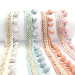 Pompom Trim Lace Ribbon for Craft DIY Wedding Decoration Sewing on Cloth Accessory 3.5cm Diy Handmade Patchwork Polyester 1yard
