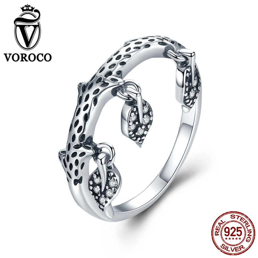 VOROCO Original Authentic 925 Sterling Silver Leaves Finger Rings For Women Luxury Jewelry S925 Wedding Engagement Gifts VSR137