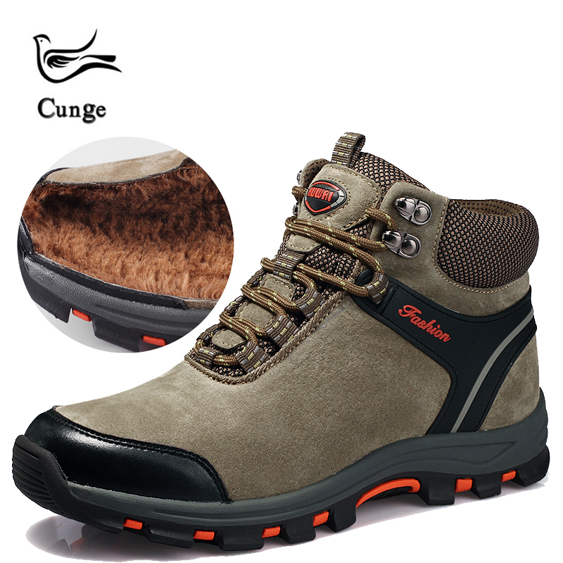cunge Outdoor Men Hiking Shoes classics Style Lace Up Men Trekking Sport Shoes Jogging Trekking Sneakers climbing boots Winter