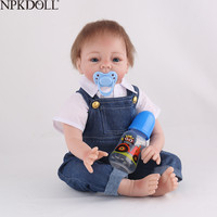 NPKDOLL 55CM 22 inch Silicone Reborn Baby Dolls Lifelike Newborn Bebe Alive Realistic Kid Jeans Mohair Girl Toys Doll Boneca