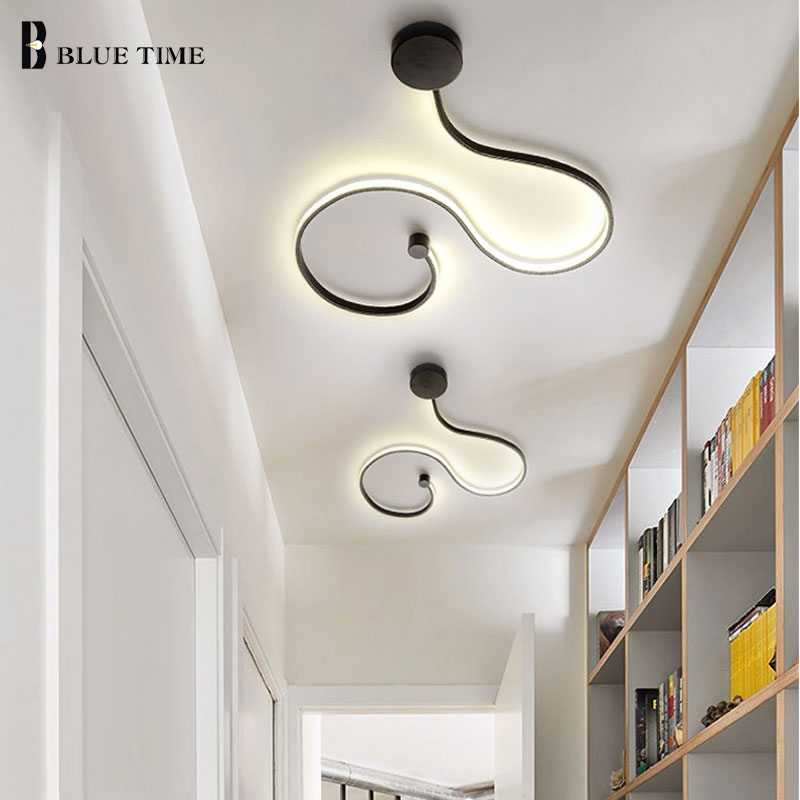 Simple Modern LED Ceiling Light Black White Body Lustres Led Ceiling Lamp Living Room Bedroom Beside