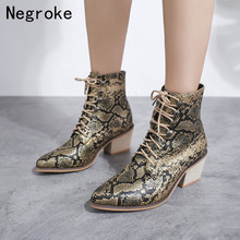 2019 Hot Women Boots Sexy Python Chunky Low Heel Ankle Boots Ladies PU Leather High Heels Shoes Zapatos Mujer Plus Size 43